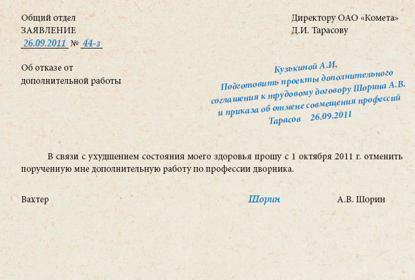 Приказ об отмене совмещения должностей: образец