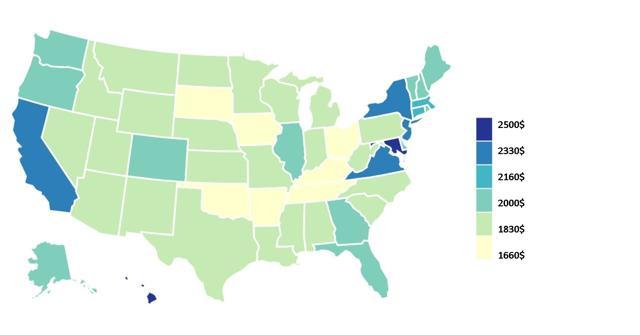 Средняя зарплата в США в месяц