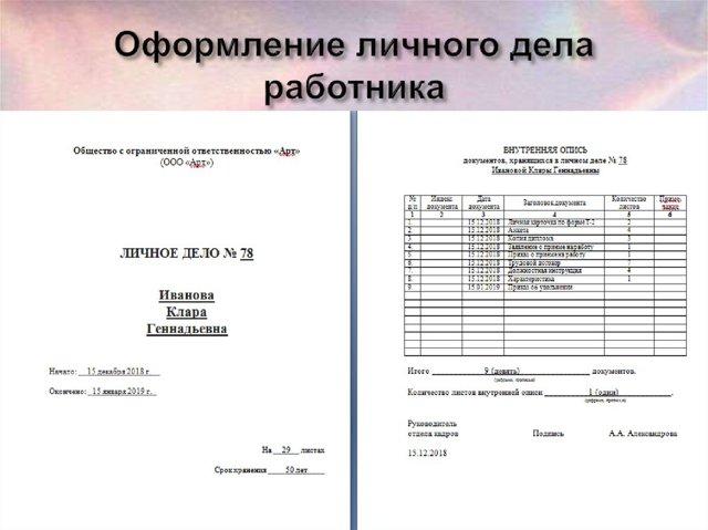 Хранение личных дел уволенных сотрудников
