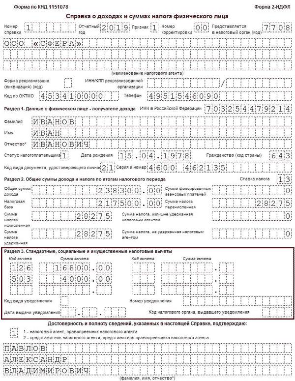 Стандартные вычеты по НДФЛ в 2020 году
