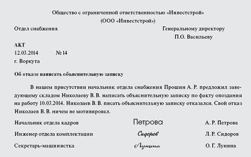 Наложение дисциплинарного взыскания – порядок, документы