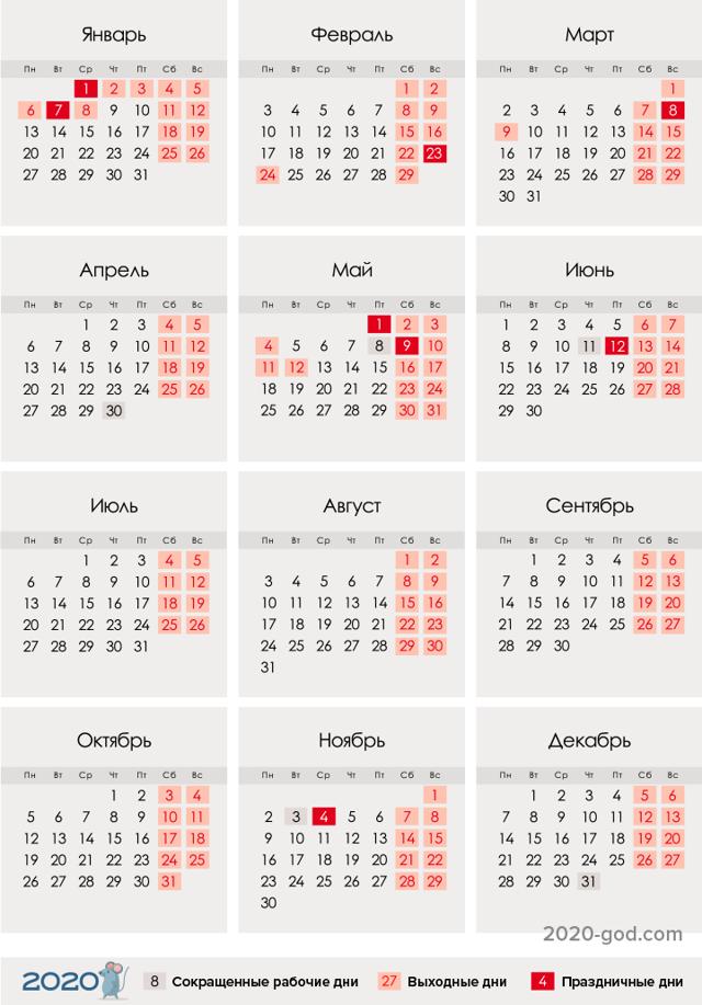 Выходные и праздничные дни в 2020 году: перенос, календарь