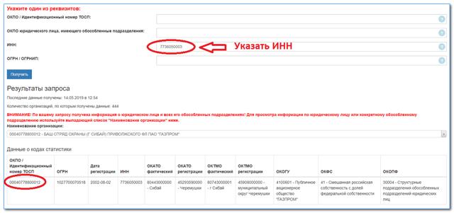 Как узнать код ОКПО организации по ИНН на сайте статистики
