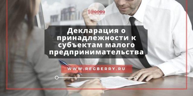 Декларация о соответствии субъектам малого предпринимательства (СМП) образец