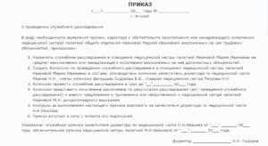 Образец приказа о проведении служебной проверки