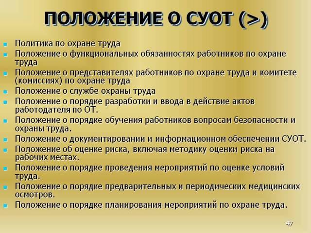 Положение о системе управления охраной труда: образец
