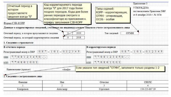 Форма СЗВ-КОРР для корректировки СЗВ-СТАЖ – как заполнять
